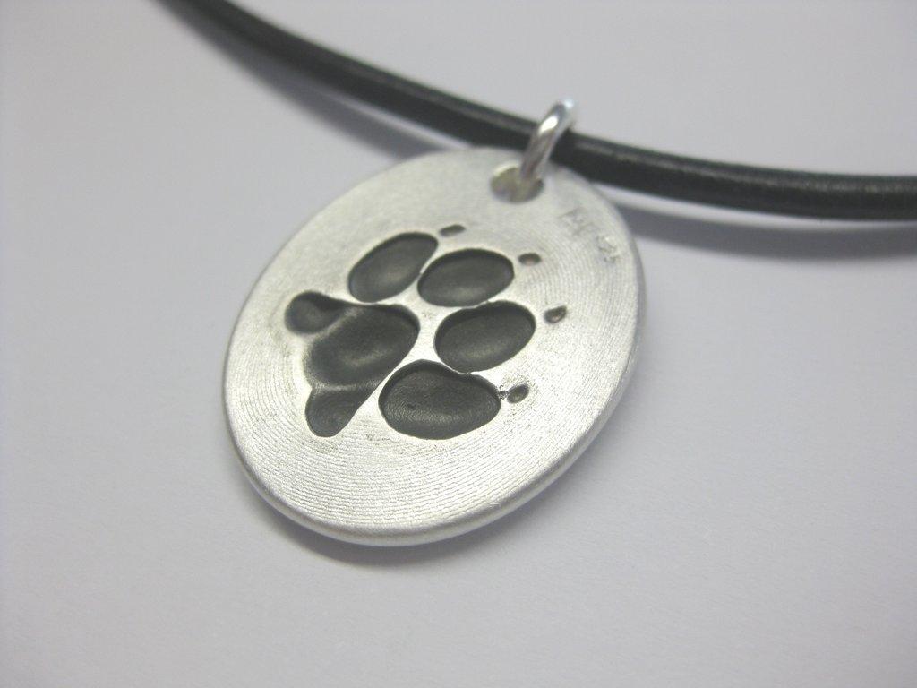 Kettenanhänger silber  Kettenanhänger Hundepfote / Hundetatze aus 925 Sterling Silber